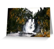 Canada Waterfall Nova Scotia Acrylics On Paper Greeting Card