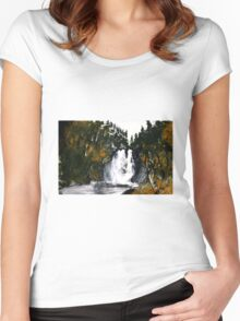 Canada Waterfall Nova Scotia Acrylics On Paper Women's Fitted Scoop T-Shirt