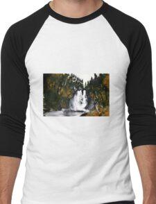 Canada Waterfall Nova Scotia Acrylics On Paper Men's Baseball ¾ T-Shirt