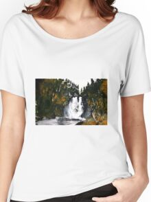 Canada Waterfall Nova Scotia Acrylics On Paper Women's Relaxed Fit T-Shirt