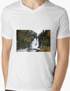 Canada Waterfall Nova Scotia Acrylics On Paper Mens V-Neck T-Shirt
