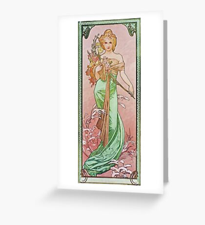 Alphonse Mucha - Printempsspring Greeting Card