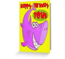 Pink Shark Tenth Birthday Greeting Card