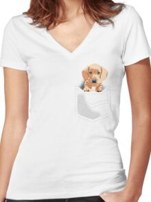 Daschund in a pocket Women's Fitted V-Neck T-Shirt
