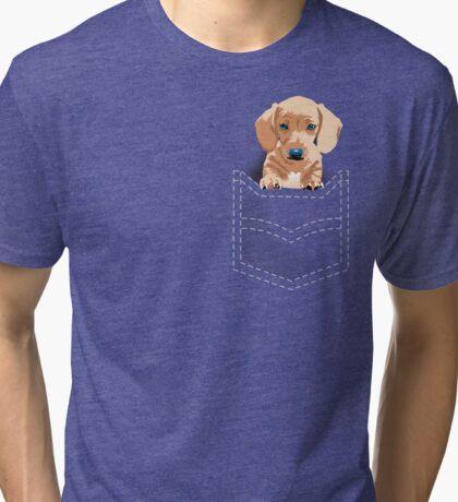 Daschund in a pocket Tri-blend T-Shirt
