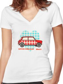 Gingham Heart, Happiness Is Mini Shaped Women's Fitted V-Neck T-Shirt