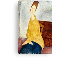 Amedeo Modigliani - Jeanne Hebuterne With Yellow Sweater (Le Sweater Jaune)  Canvas Print