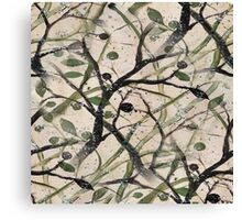 Black And Green Olive Tree Digital Abstract Canvas Print