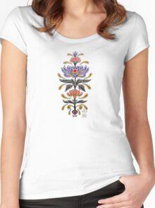 Mark C. Merchant original, hand drawn, tattoo inspired, floral design  Women's Fitted Scoop T-Shirt