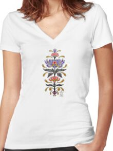 Mark C. Merchant original, hand drawn, tattoo inspired, floral design  Women's Fitted V-Neck T-Shirt