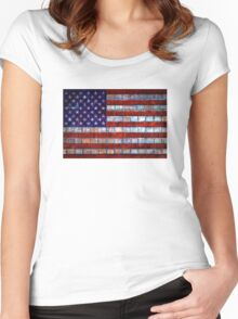 USA flag on old brick wall texture background Women's Fitted Scoop T-Shirt