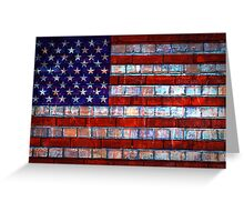 USA flag on old brick wall texture background Greeting Card