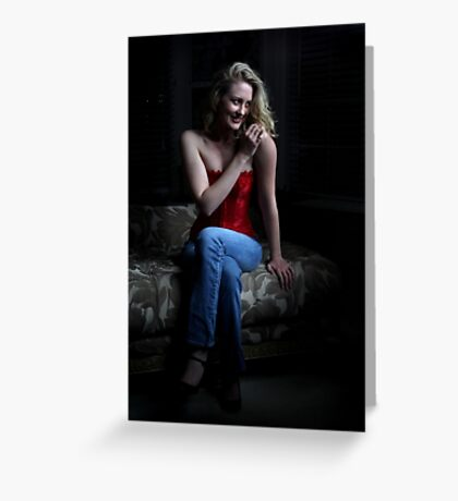 Sexy Blond Sitting Greeting Card