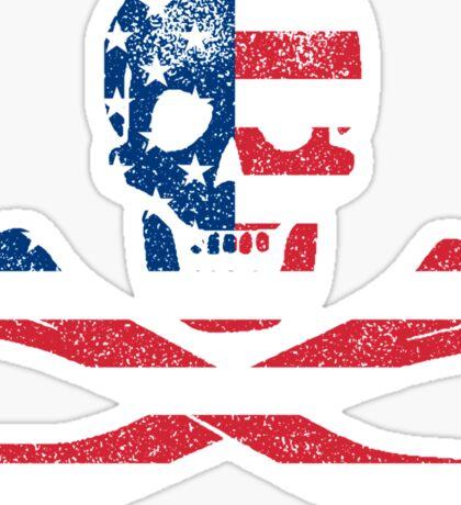 Skull and Crossbones USA Sticker