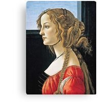 Botticelli -  Portrait Of Simonetta Vespucci  Canvas Print