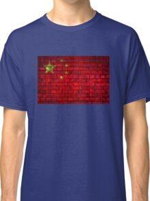 China vintage flag painted on a red brick wall Classic T-Shirt