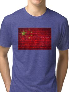 China vintage flag painted on a red brick wall Tri-blend T-Shirt