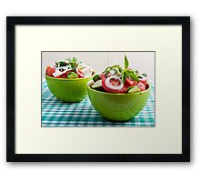 Two portions of useful vegetarian meal Framed Print