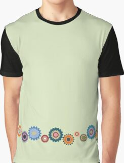 April Flowers Border on Green Graphic T-Shirt
