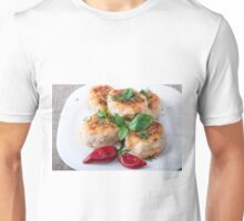 Rissole of minced chicken on a white plate with red pepper Unisex T-Shirt