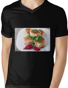 Rissole of minced chicken on a white plate with red pepper Mens V-Neck T-Shirt