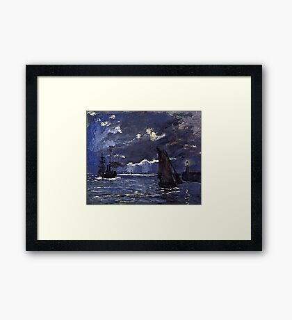 Claude Monet - A Seascape, Shipping by Moonlight (1864)  Framed Print