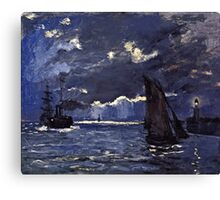 Claude Monet - A Seascape, Shipping by Moonlight (1864)  Canvas Print