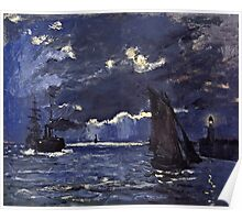 Claude Monet - A Seascape, Shipping by Moonlight (1864)  Poster