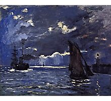 Claude Monet - A Seascape, Shipping by Moonlight (1864)  Photographic Print