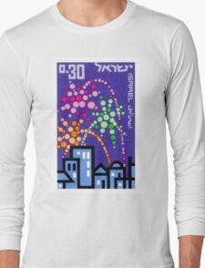 1966 Israel Tel Aviv Fireworks Postage Stamp Long Sleeve T-Shirt