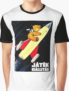 Teddy Bear On A Rocket Vintage Hungarian Toy Fair Poster Graphic T-Shirt