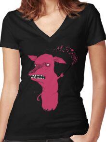 Bad Explanation Art Dog Women's Fitted V-Neck T-Shirt