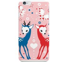 Cute Two Little Deer and Butterflies. iPhone Case/Skin