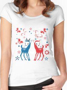 Cute Two Little Deer and Butterflies. Women's Fitted Scoop T-Shirt