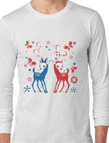 Cute Two Little Deer and Butterflies. Long Sleeve T-Shirt