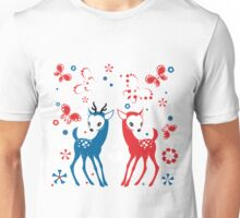 Cute Two Little Deer and Butterflies. Unisex T-Shirt