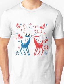 Cute Two Little Deer and Butterflies. T-Shirt