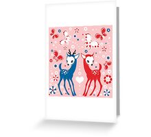 Cute Two Little Deer and Butterflies. Greeting Card