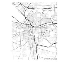 Syracuse Map, USA - Black and White Photographic Print