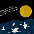 Full Moon with Sandhill Cranes (Comes with any quote or no text) by Betsy  Seeton
