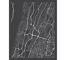 Yonkers Map, USA - Gray  Photographic Print