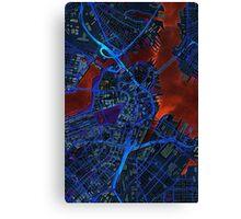 Boston city map dark Canvas Print