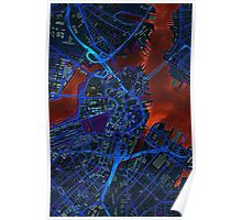 Boston city map dark Poster