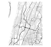 Yonkers Map, USA - Black and White Photographic Print