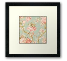 Rustic floral wall paper,mint,peach,pink,green,beige,cream,victorian,rustic,old,worn Framed Print
