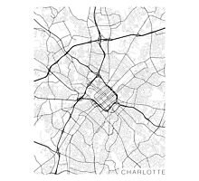 Charlotte Map, USA - Black and White Photographic Print