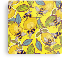 Yellow lemon and bee garden. Metal Print