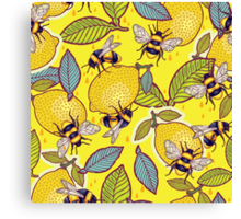 Yellow lemon and bee garden. Canvas Print