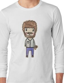 bob ross watercolor doodle Long Sleeve T-Shirt