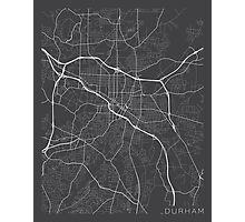 Durham Map, USA - Gray Photographic Print